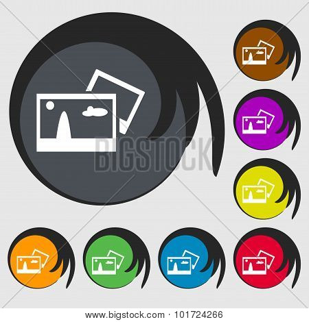 Copy File Jpg Sign Icon. Download Image File Symbol. Symbols On Eight Colored Buttons. Vector