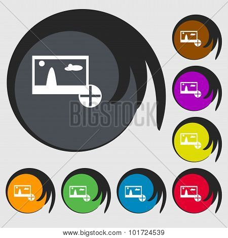 Plus, Add File Jpg Sign Icon. Download Image File Symbol. Symbols On Eight Colored Buttons. Vector