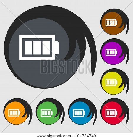 Battery Fully Charged Sign Icon. Electricity Symbol. Symbols On Eight Colored Buttons. Vector