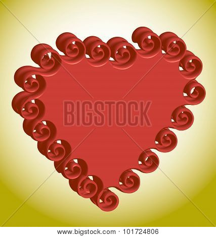 Red volumetric heart on a gold background