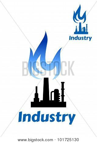 Industrial plant icon with blue flame