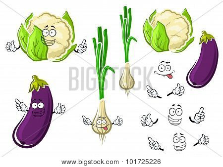 Cauliflower, onion and eggplant vegetables