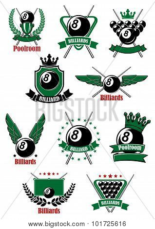 Billiards game icons with sport items