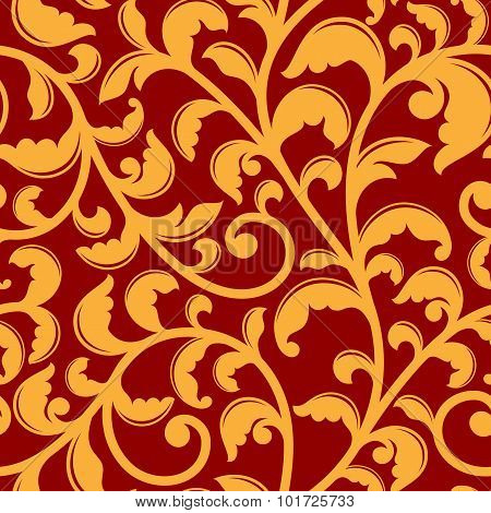 Seamless pattern with floral swirls