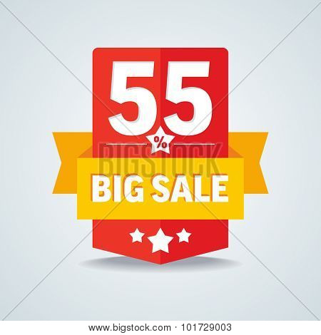 Big sale 55 percent badge with yellow ribbon. Vector illustration.