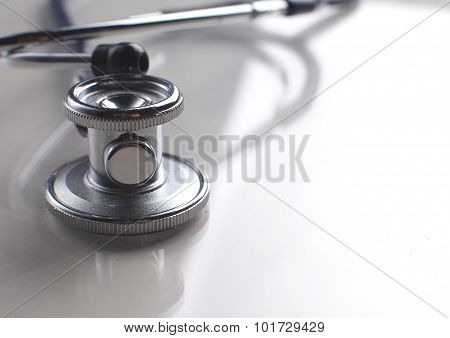close up medical stethoscope on a white background