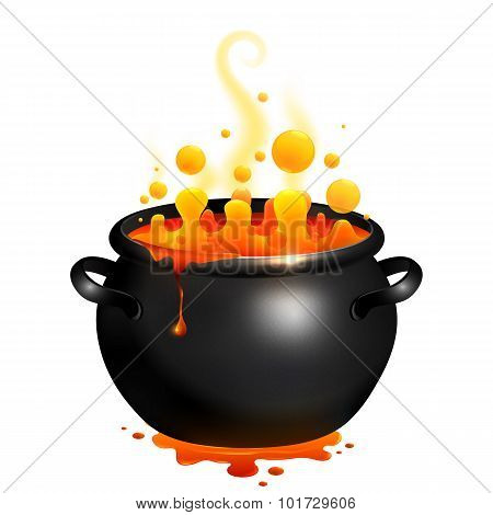 Black vector cauldron with orange witches potion