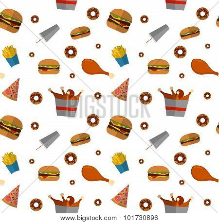 Fast Food Seamless Pattern Design Isolated On White. Illustration Of Flat Style Unhealthy Food, Diet