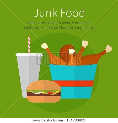 Lunch Chicken Bucket, Burger And Soda Takeaway. Fast Food. Junk Food. Flat Design. Fizzy Drink, Hot