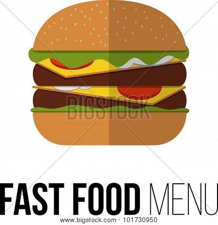 Burger Vector Concept. Design Element For Restaurant Menu Illustration Or For Logotype. Flat Design