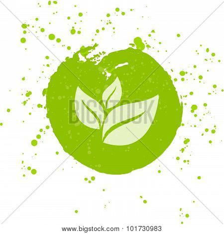 Eco Icon With Leaf, Vector Bio Sign On Watercolor Stain With Watercolor Spots. Vector Banner Of Ecol