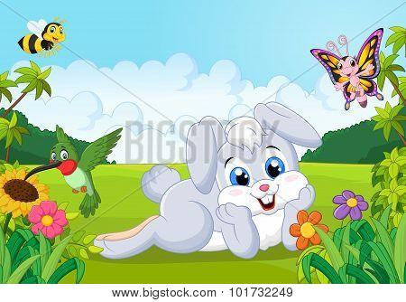 Cartoon cute bunny in the jungle