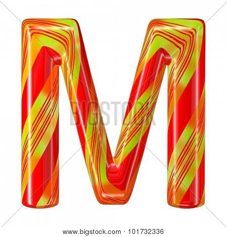 Mint hard candy cane 3d alphabet collection striped in Christmas colours. Letter M.