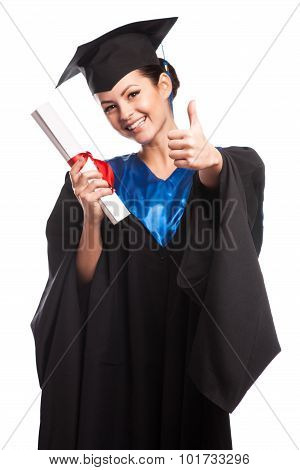 Young Woman College Graduate Portrait Wearing Cap And Gown With Diploma Isolated On White Background