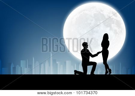 silhouette of man makes a proposal