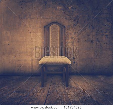 antique chair in old grunge interior, retro film filtered, instagram style