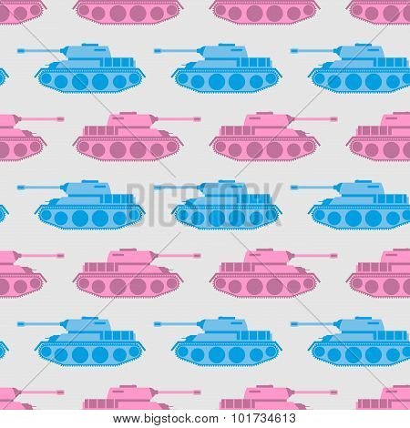Toy Tank Seamless Pattern. Blue And Pink Military Toys. Vector Ornament For Baby Tissue.