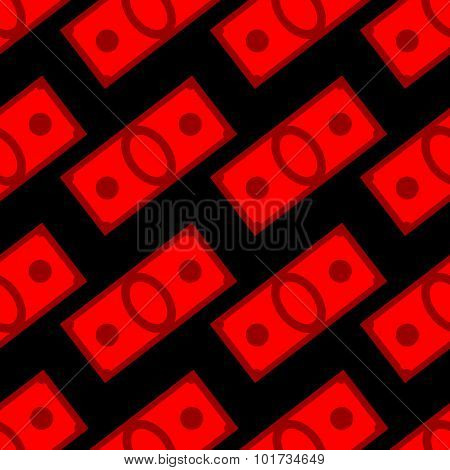 Blood Money Seamless Pattern. Dollars On Fear And War. Vector Background Of Red Cash Suffering.