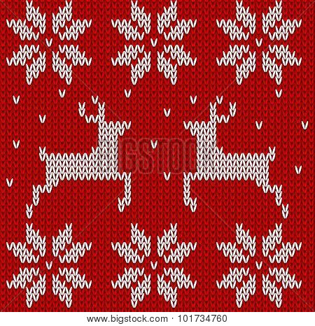 Red Knitted Deers And Stars Sweater In Norwegian Style. Knitted Scandinavian Ornament. Vector Seamle