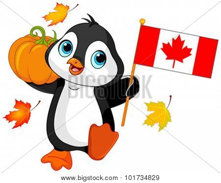 Illustration of Penguin celebrating Canadian Thanksgiving Day