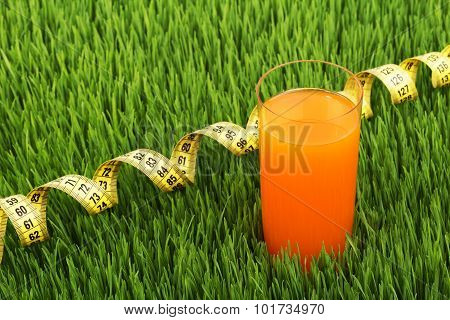 Glass Of Orange Juice And Meter On The Green Grass