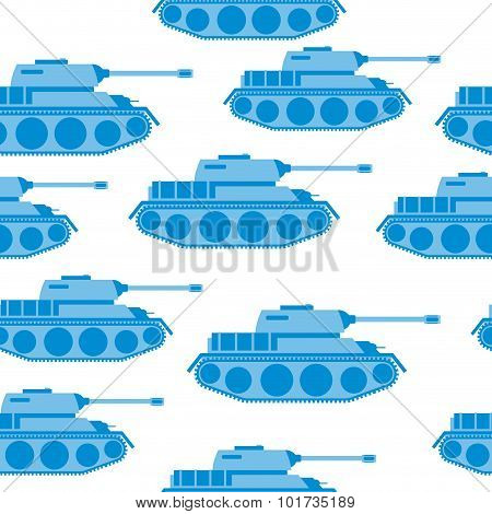 Cute Blue Tank Seamless Pattern. Vector Military Background. Army Transport With Gun.