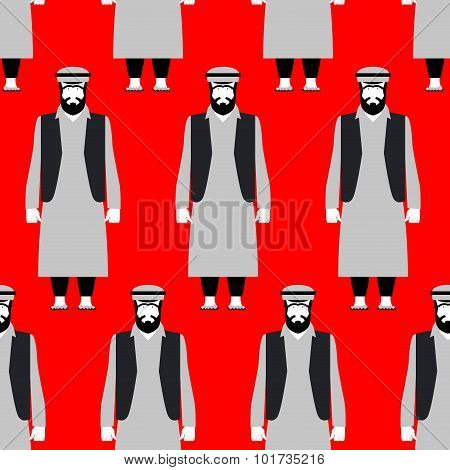 Refugees Seamless Pattern. Sad People On Red Background. Crowd Of Syrian Emigrants Escaping From Blo