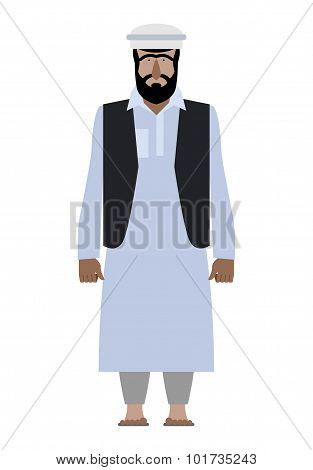 Syrian Refugee. Resident Of Pakistan National Clothes. Afghanistan Man In A Traditional Robe On A Wh