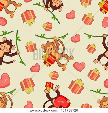 Illustration of monkeys for the holiday.Seamless vector backgrou