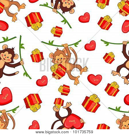 Seamless vector background with funny monkeys with gifts. Illust