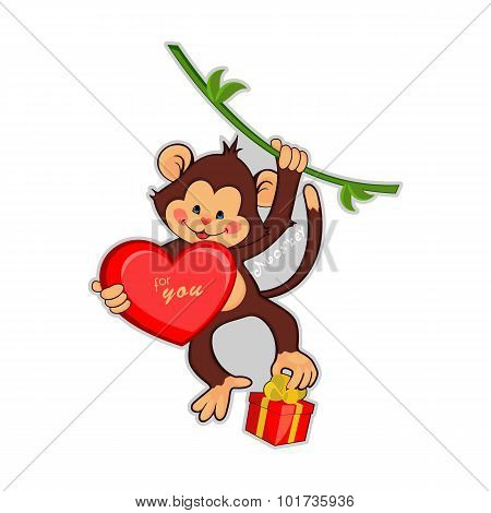 Vector illustration of funny monkey with a big heart and gift.
