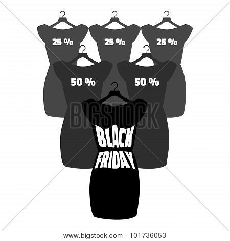 Black Friday Lettering On The Fashionable Black Dress. Vector Icon Poster Little Black Dress - Black
