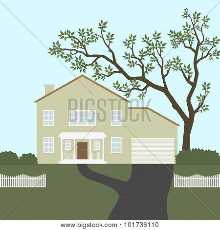 House with white fense