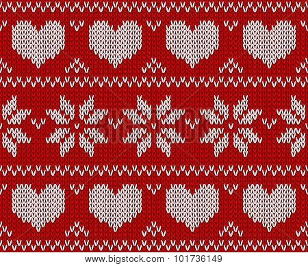 Red Knitted Stars Sweater In Norwegian Style. Knitted Scandinavian Ornament. Vector Seamless Pattern