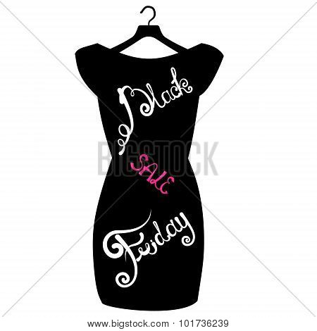 Vector Icon Poster Little Black Dress - Black Friday. Black Friday Lettering On The Fashionable Blac