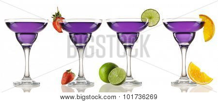 Margarita or Daiquiri cocktail collection isolated on white