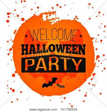 Happy Halloween Poster on bright watercolor background with stains and drops.
