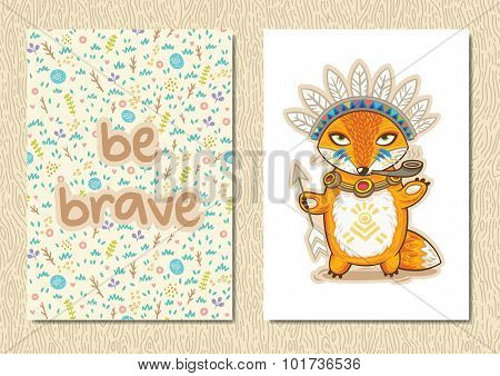Stylish floral poster with cute Indian fox in cartoon style