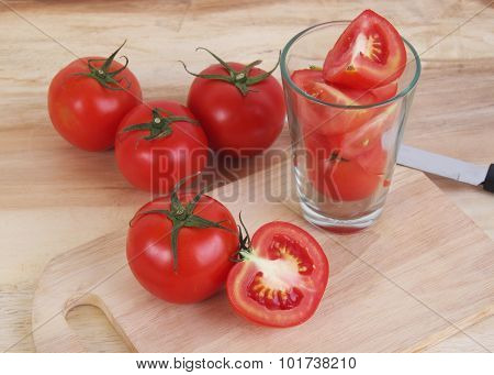 Tomato And Sliced Tomato Prepare On The Wood Table And Wood Background For Tomato Juice