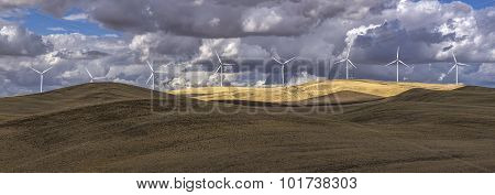 Panorama Of Wind Turbines.