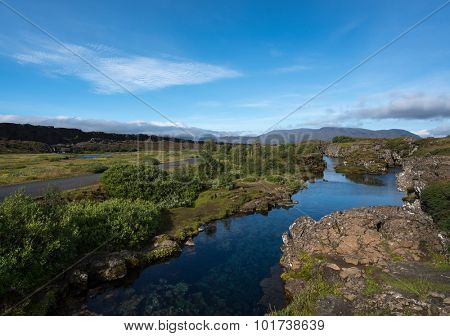 Pingvellir National park, Iceland. It lies in a rift valley that marks the crest of the Mid-Atlantic Ridge