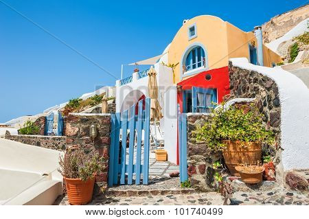 Beautiful National Architecture In Oia Town, Santorini Island, Greece.
