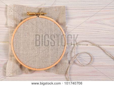 Plastic hoop on wooden background