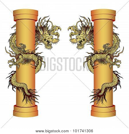 Gold Dragon On A Pole