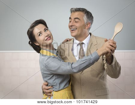 Vintage Couple Dancing In The Kitchen