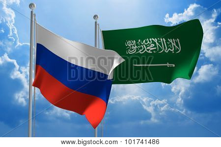 Russia and Saudi Arabia flags flying together for diplomatic talks
