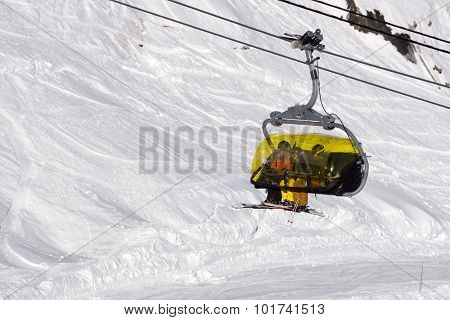 Chairlift in a mountain ski resort