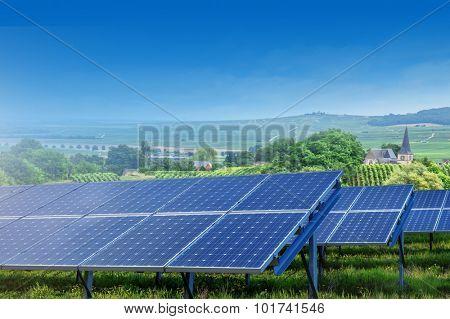 solar panels on summer landscape in France