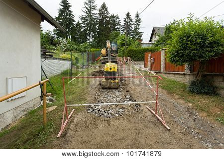 Excavator On Trench - Constructing Canalization