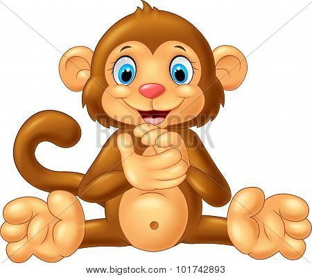 Cartoon monkey clapping hand